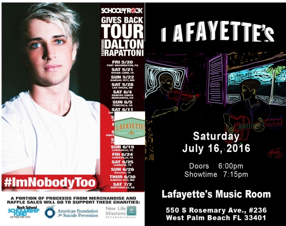 Dalton Rapattoni will be performed at Lafayette's Music Room West Palm Beach Florida on July 16, 2016