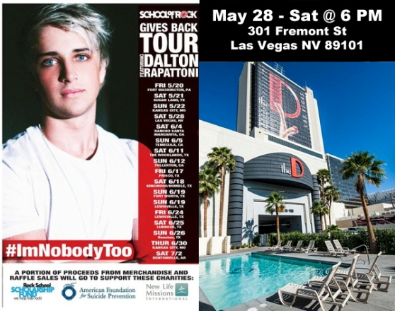 Dalton Rapattoni perform at The D Casino Hotel Las Vegas Nevada on May 28, 2016